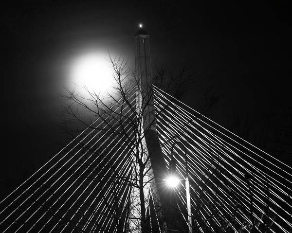 Photograph - December 2016 Supermoon Over The Lenny Zakim Bridge Boston Ma Black And White by Toby McGuire