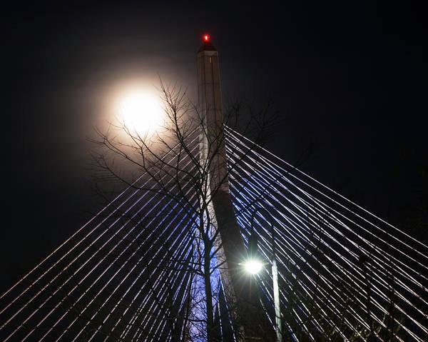 Photograph - December 2016 Supermoon Over The Lenny Zakim Bridge Boston Ma by Toby McGuire
