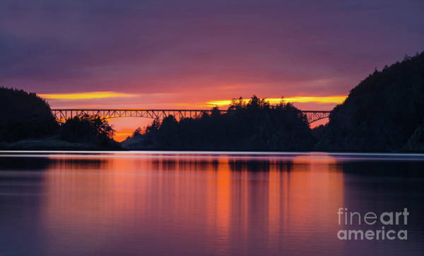 Wall Art - Photograph - Deception Pass Bridge Sunset Serenity by Mike Reid