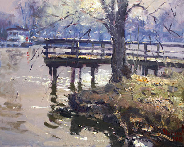 Tonawanda Wall Art - Painting - Deck At Tonawanda Canal by Ylli Haruni