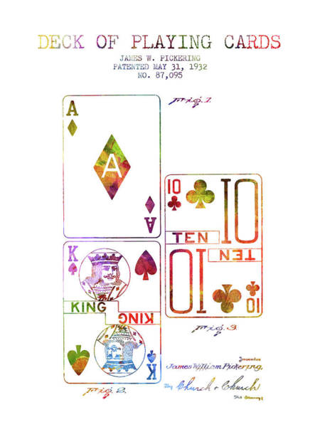 Playing Digital Art - Deck Of Playing Cards Patent From 1932 - Charcoal by Aged Pixel
