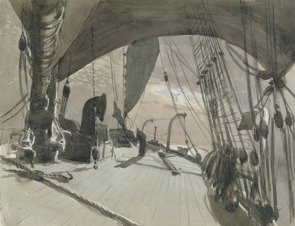 Drawing - Deck Of Ship In Moonlight by John Singer Sargent
