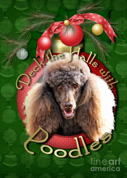 Poodle Digital Art - Deck The Halls With Poodles by Renae Crevalle
