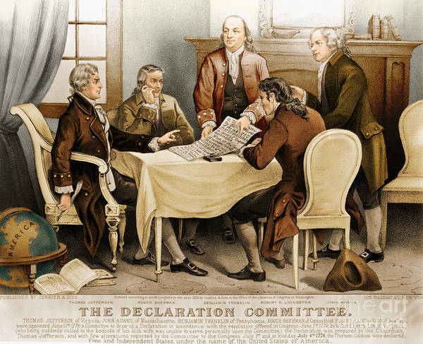 Sherman Photograph - Declaration Committee 1776 by Photo Researchers