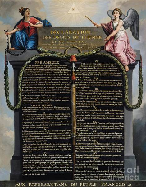 Masonic Wall Art - Painting - Declaration Of The Rights Of Man And Citizen by French School