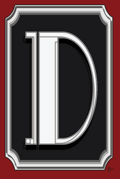 Serif Digital Art - Deco Cafe Marquee  Monogram  Letter D by Cecely Bloom