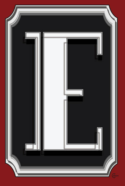 Serif Digital Art - Deco Cafe Marquee  Monogram  Letter E by Cecely Bloom