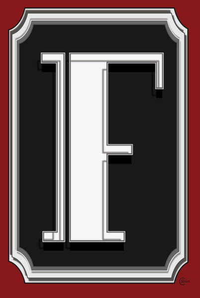 Serif Digital Art - Deco Cafe Marquee  Monogram  Letter F by Cecely Bloom