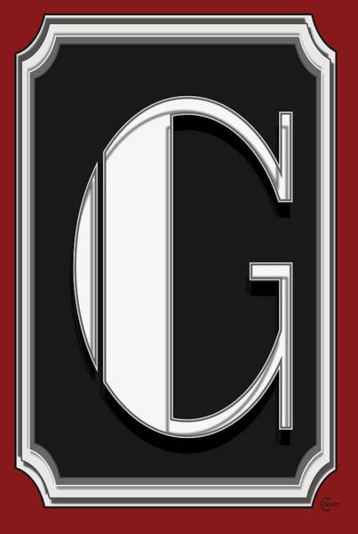 Serif Digital Art - Deco Cafe Marquee  Monogram  Letter G by Cecely Bloom