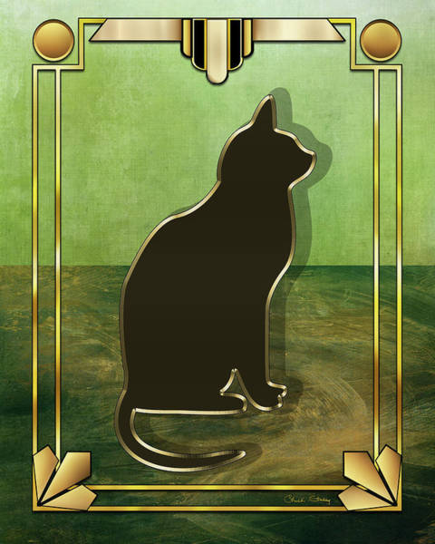 Digital Art - Deco Cat 1 by Chuck Staley