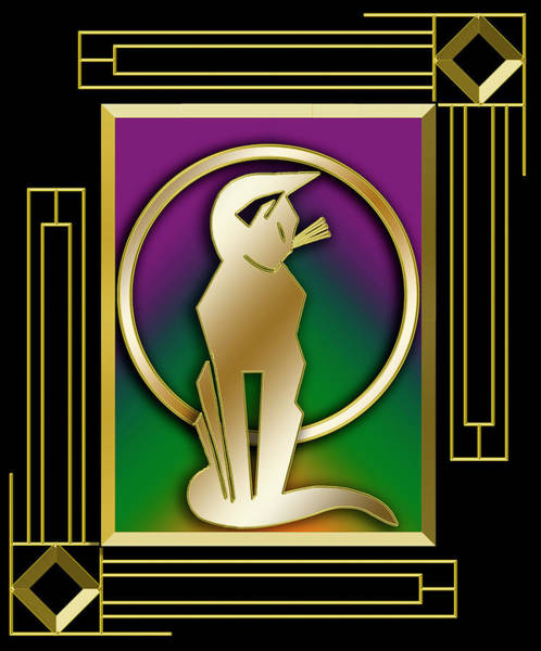 Digital Art - Deco Cat - Frame 5 by Chuck Staley