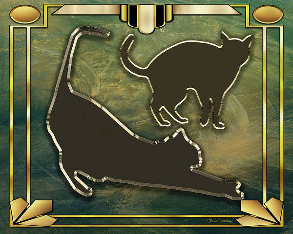 Digital Art - Deco Cat Stretching by Chuck Staley