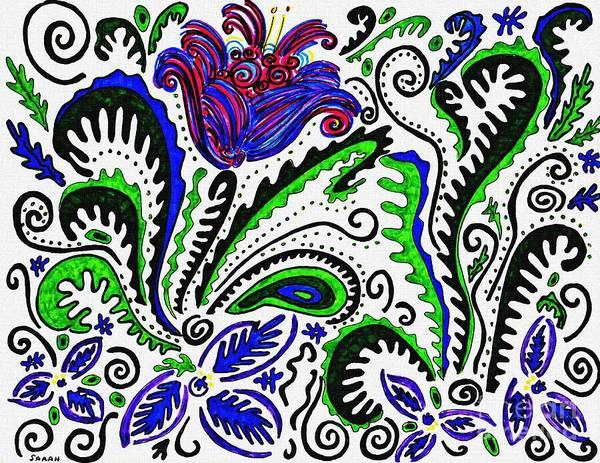 Garden Wall Drawing - Deco Garden by Sarah Loft