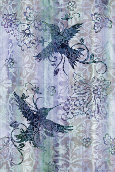 Songbird Painting - Deco Hummingbird Blue by JQ Licensing