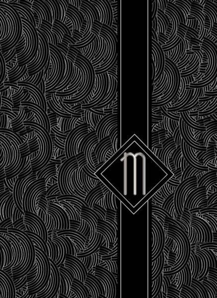 Digital Art - Deco Jazz Swing Monogram ...letter M by Cecely Bloom