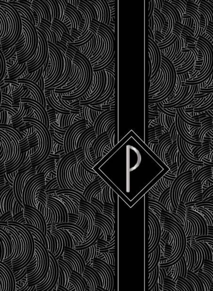 Digital Art - Deco Jazz Swing Monogram ...letter P by Cecely Bloom