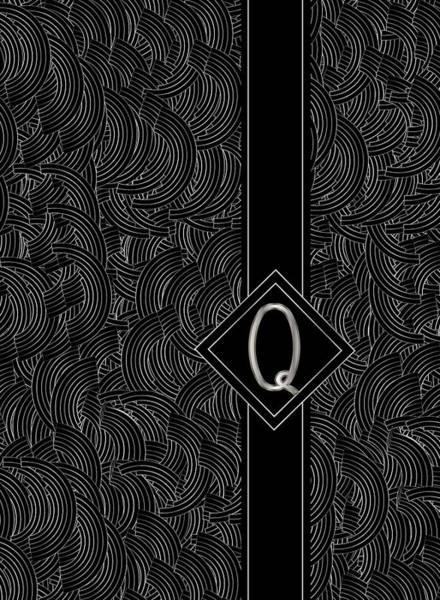 Digital Art - Deco Jazz Swing Monogram ...letter Q by Cecely Bloom