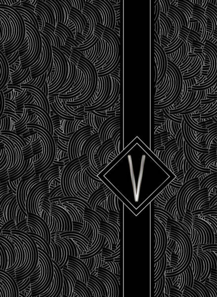 Digital Art - Deco Jazz Swing Monogram ...letter V by Cecely Bloom