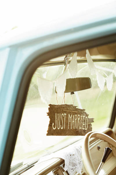 Wedding Photograph - Decorated Car Interior With Wooden Just by Gillham Studios