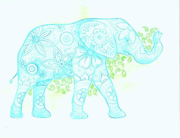 Drawing - Decorated Elephant by Emily Page