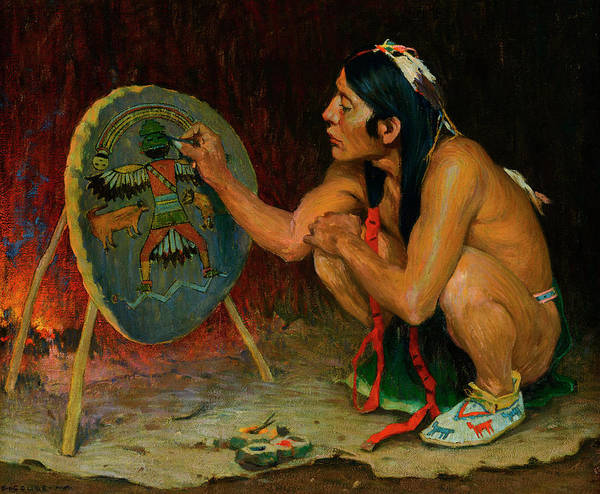 Wall Art - Painting - Decorating The War Shield by Eanger Irving Couse