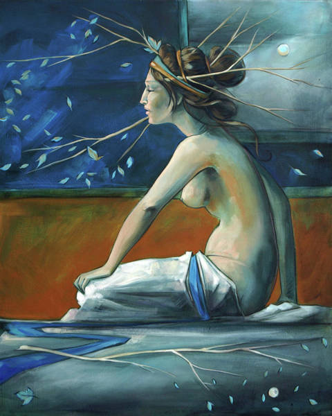 Nymph Painting - Decorative Blue Nymph by Jacque Hudson