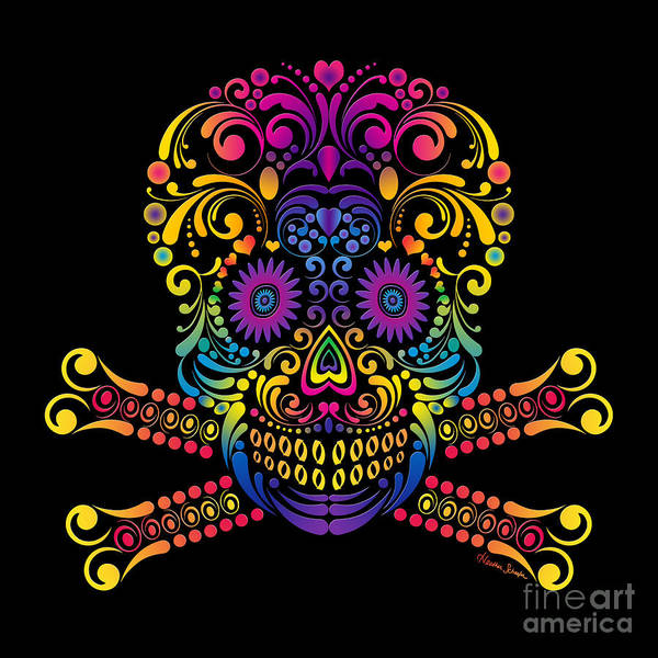 Digital Art - Decorative Candy Skull by Heather Schaefer