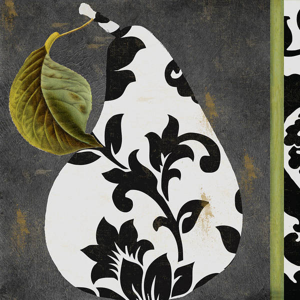Tapestries Textiles Wall Art - Painting - Decorative Damask Pear I by Mindy Sommers