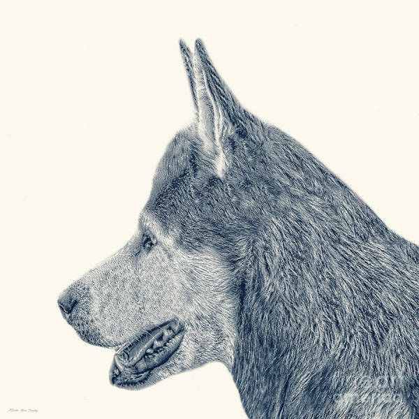 Painting - Decorative Digital Sketch Man's Best Friend A7116l by Mas Art Studio