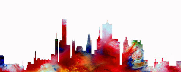 Painting - Decorative Skyline Abstract  Houston T1115d by Mas Art Studio