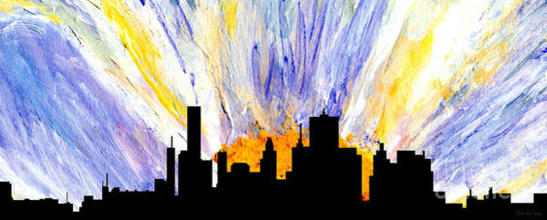Painting - Decorative Skyline Abstract  Houston T1115v1 by Mas Art Studio