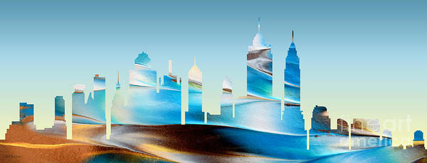 Painting - Decorative Skyline Abstract New York P1015b by Mas Art Studio