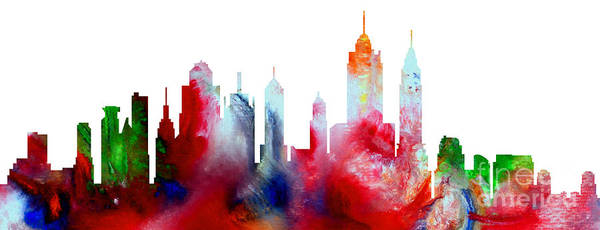 Decorative Skyline Abstract New York P1015c Art Print