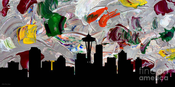 Painting - Decorative Skyline Abstract  Seattle T1115w by Mas Art Studio