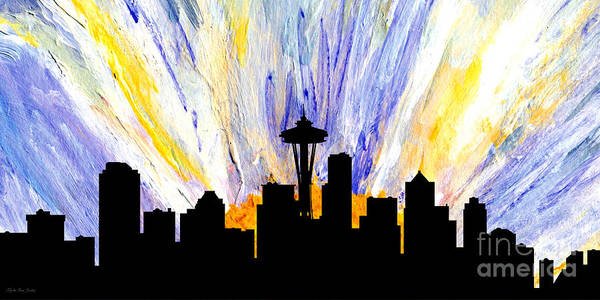 Painting - Decorative Skyline Abstract  Seattle T1115z by Mas Art Studio