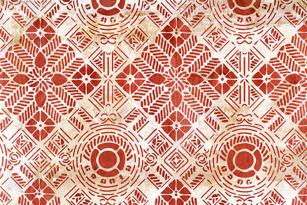 Wall Art - Painting - Decorative Vintage Pattern Sanguine Red by Frank Tschakert