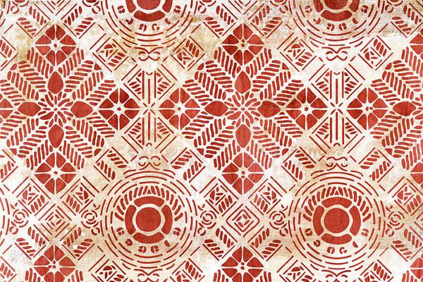 Decorative Vintage Pattern Sanguine Red Art Print by Frank Tschakert