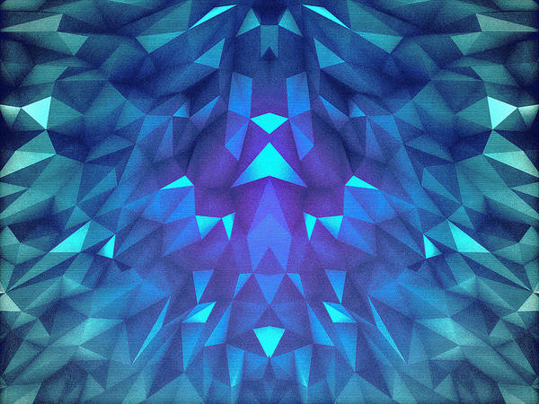 Wall Art - Digital Art - Deep Blue Collosal Low Poly Triangle Pattern  Modern Abstract Cubism  Design by Philipp Rietz