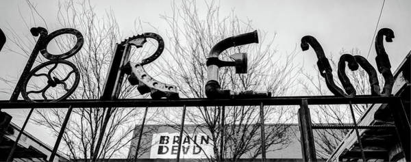 Photograph - Deep Ellum Metal Brew Pub Art - Dallas Black And White by Gregory Ballos