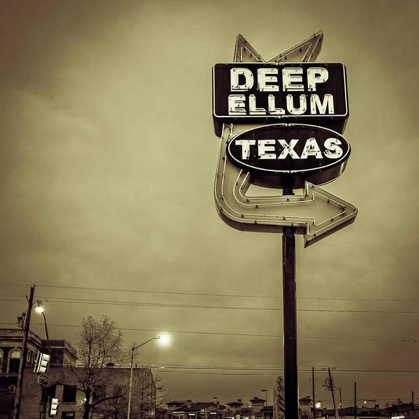 Photograph - Deep Ellum Texas Vintage Neon Sign - Dallas Texas Sepia Square Art by Gregory Ballos