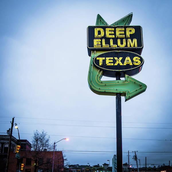 Photograph - Deep Ellum Texas Vintage Neon Sign - Dallas Texas Square Art by Gregory Ballos