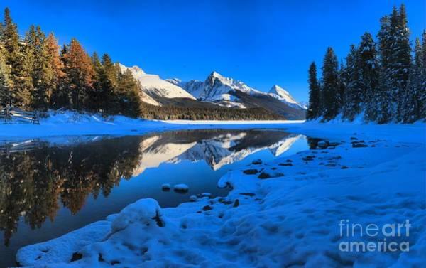 Montain Photograph - Deep Freeze At Maligne Lake by Adam Jewell