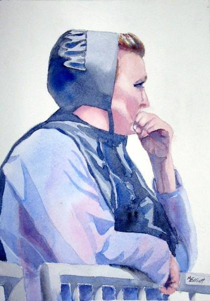 Amish Wall Art - Painting - Deep In Thought by Marsha Elliott