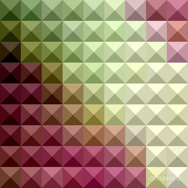 Wall Art - Digital Art - Deep Mauve Purple And Green Abstract Low Polygon Background by Aloysius Patrimonio