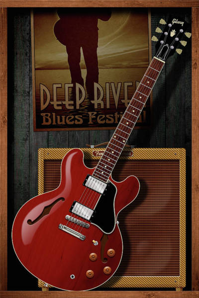 Semis Digital Art - Deep River Blues by WB Johnston