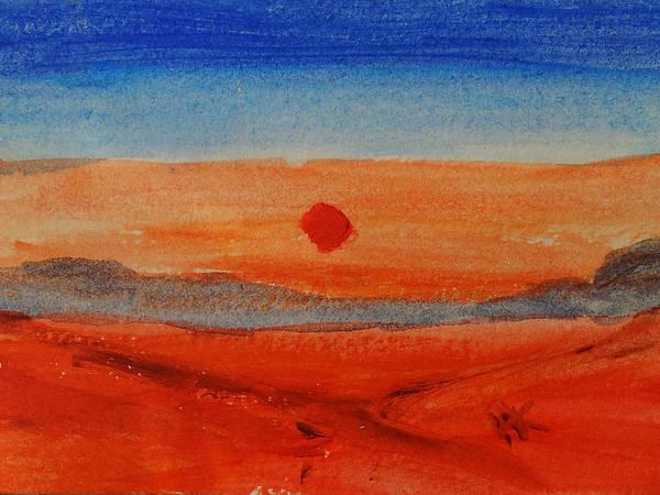 Atc Painting - Deep Sunset by Helen Krummenacker