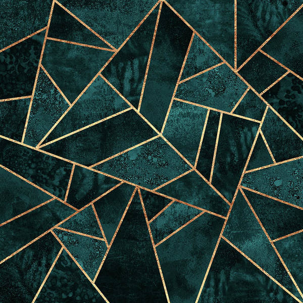 Geometry Digital Art - Deep Teal Stone by Elisabeth Fredriksson