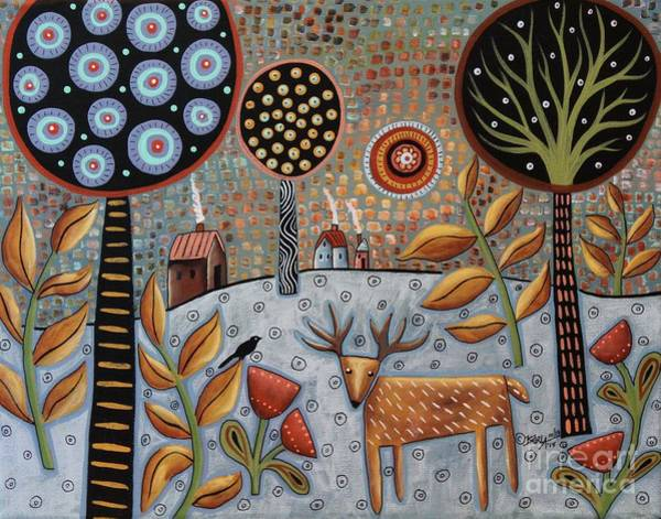 Wall Art - Painting - Deer And Bird 1 by Karla Gerard