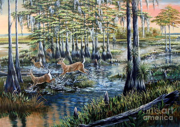 Backwoods Wall Art - Painting - Deer And Dogs- A Southern Tradition by Daniel Butler
