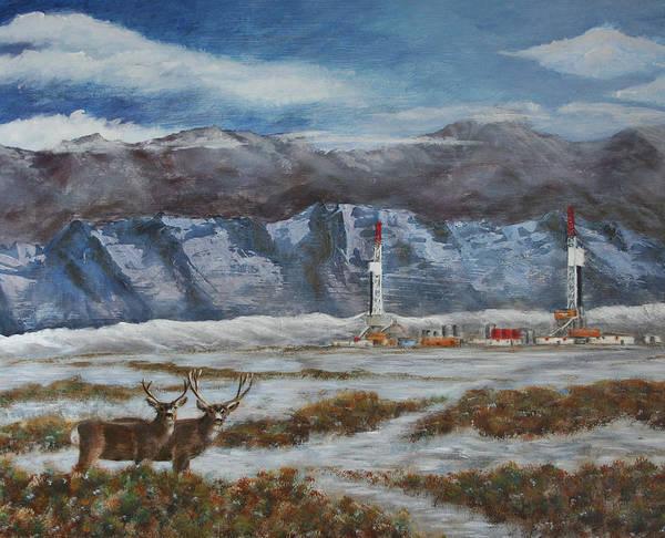 Deer And Drilling Rig Art Print by Karen Peterson
